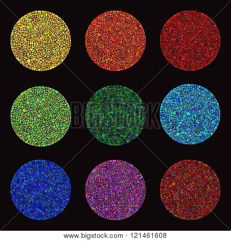 Set of colorful Mosaic design elements in circle forms.