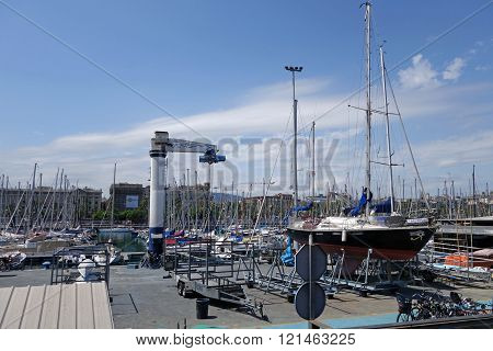 Boats and yachts at port of Barcelona