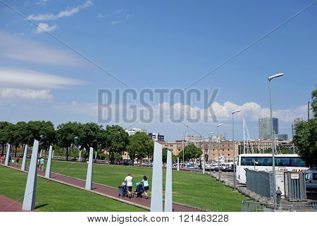 BARCELONA, SPAIN - JULY 31, 2015: Cityscape view of park in Barcelona during a sunny summer day