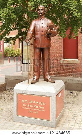 Sun Yat Sen statue in Chinatown, Melbourne