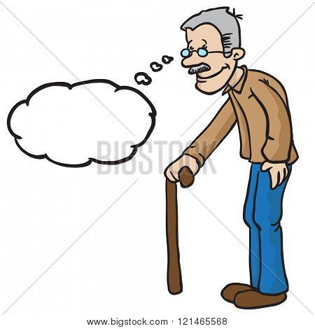 grandpa with thought bubble cartoon