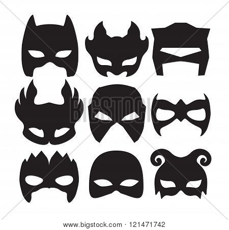 Super hero masks for face character in black. Silhouette mask on white