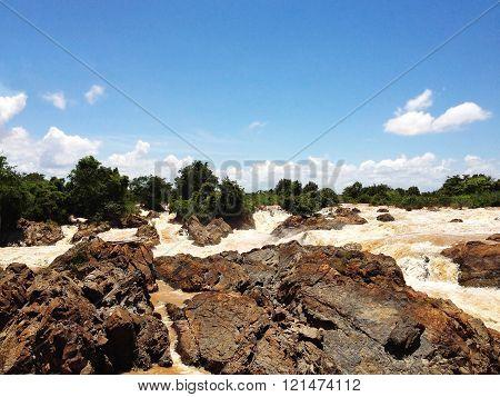 Liphi waterfalls or mekong river on the rainy season Don Khone Siphan Don Southern of Laos poster