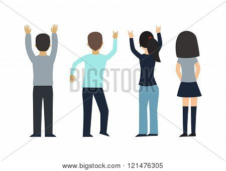 Fans people vector on white background.