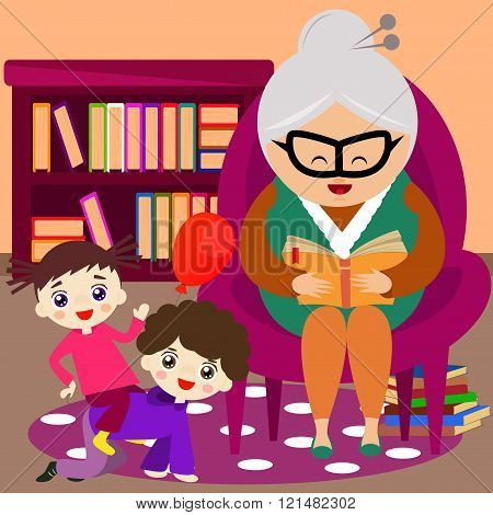 Grandmother reading a tale to her grandchild.