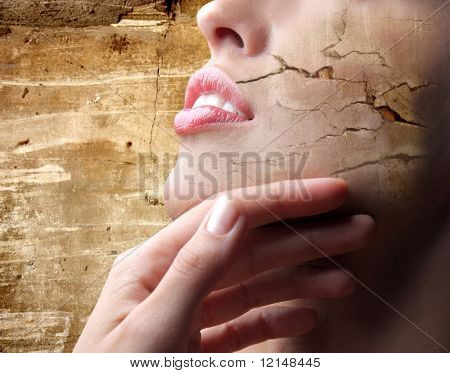 a effect of crack on the skin of a closeup of a woman