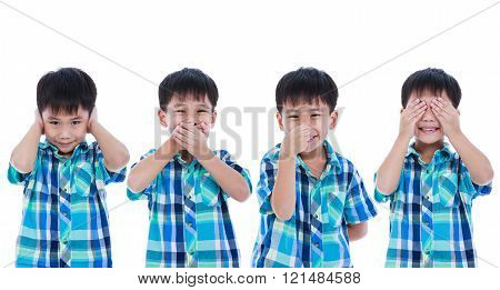 Set of four portrait of playful asian boy covering his ear mouth nose eye in different poses. Isolated on white background. Positive human emotion, facial expression feeling reaction. Studio shot.