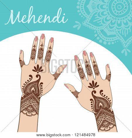 Women's Hands, Manicure. Mehendi.