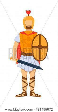 Roman gladiator soldier troop armed forces man vector illustration.
