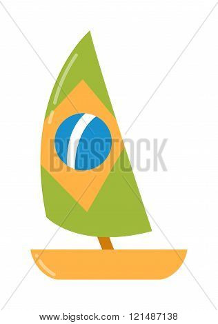 Yacht ship vector isolated on a white background.