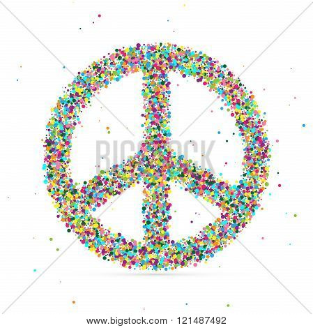 peace symbol consisting of colored particles