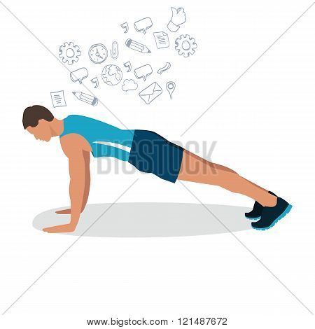 man male push up gym workout exercise illustration flat drawing vector fitness training pose positio