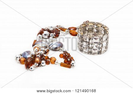 Beads and silver bracelet
