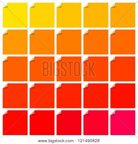 Set of colorful flat labels with curled corners