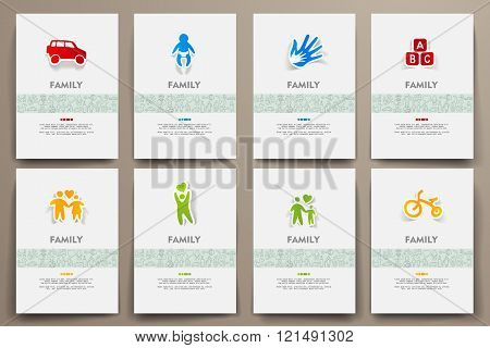 Corporate identity vector templates set with doodles family theme