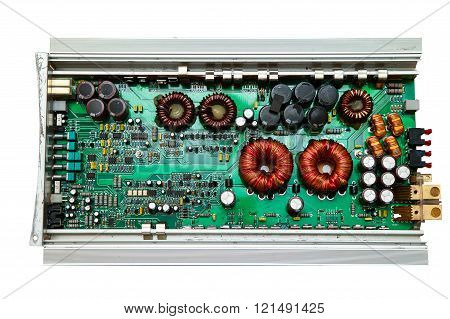 Electronic Circuit Board Close-up With Different Microelements On The White Background