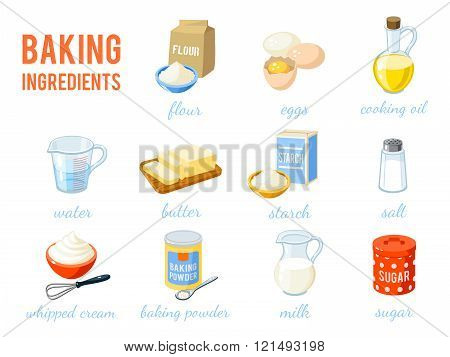 Set Of Cartoon Food: Baking Ingredients - Flour, Eggs, Oil, Water, Butter, Starch, Salt, Whipped Cre