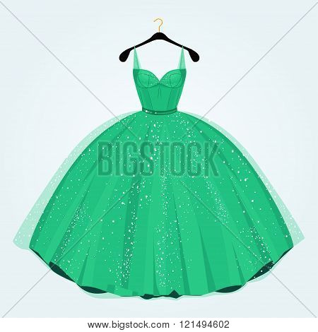 Green Dress For Special Event On Hanger. Party Dress.vector Illustration