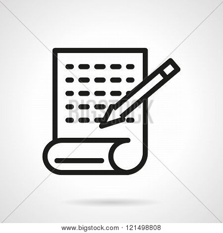 Article writing black line design vector icon