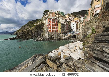Panorama Of Riomaggiore And Stunning Colorful Buildings,cinque Terre National Park,liguria,italy,eur