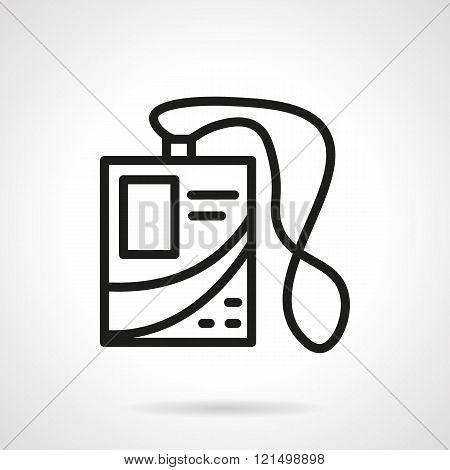 Name tag badge black line design vector icon