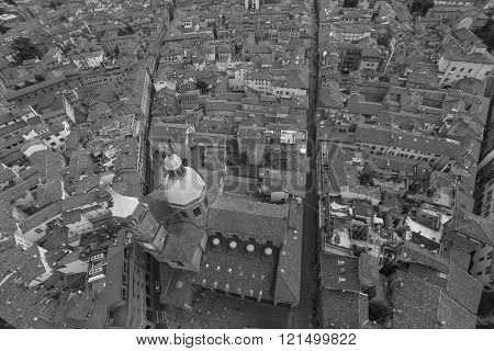 Black And White Cityscape View From