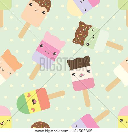 Seamless pattern of cute kawaii style ice cream bars.