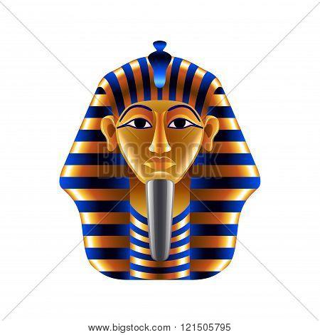 Tutankhamuns Mask Isolated On White Vector