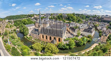 Panoramic Aerial View On Luxembourg City