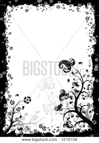 grunge floral frame with berries vector illustration poster