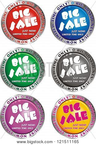Big Discount - Signs, Buttons In Red, Blue, Green, Yellow, Grey And Purple Design [