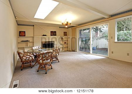 Living Room In Old House With Fireplace