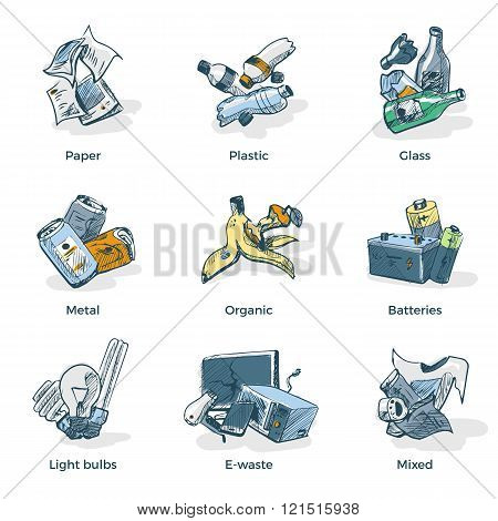 Hand Drawing Of Trash Waste Recycling Categories Types