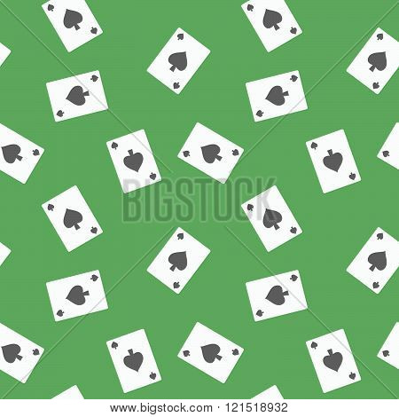 Seamless Gambling Cards Spades Suit Pattern Background Over The Green Table poster