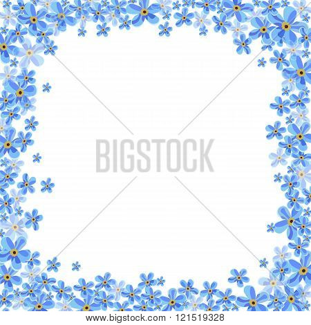 Vector frame with blue forget-me-not flowers