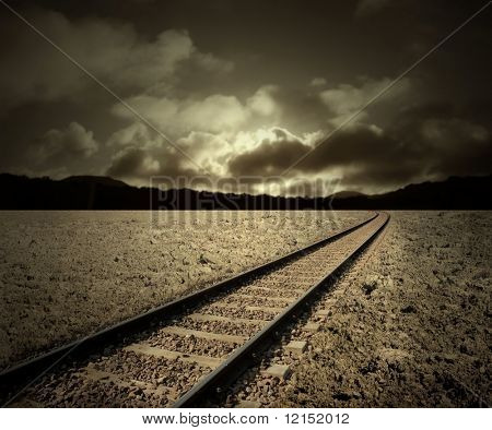 empty railway tracks in a natural landscape