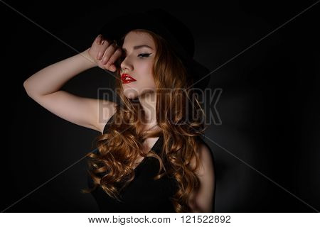 Beautiful Woman In Big Black Hat.