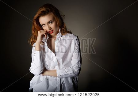 Beautiful Young Woman In A White Man's Shirt