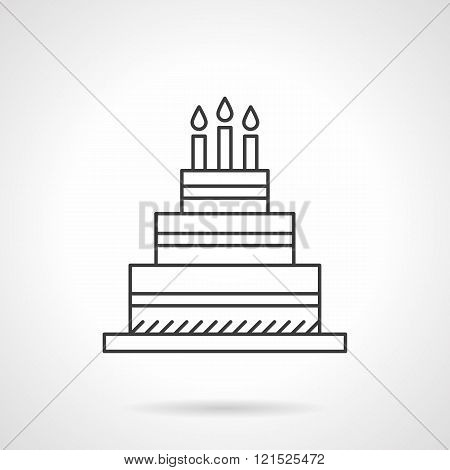 Birthday cake flat line design vector icon