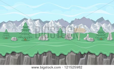 Seamless Editable Mountainous Landscape With Fir Trees For Game Design