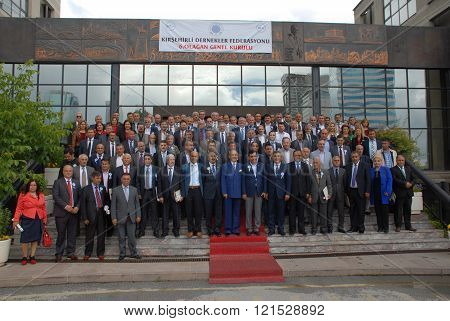 ANKARA/TURKEY-JUNE 7, 2014: Federation of Kirsehir Associations' members of General Assembly at ATO meeting hall. June 7, 2014-Ankara/Turkey