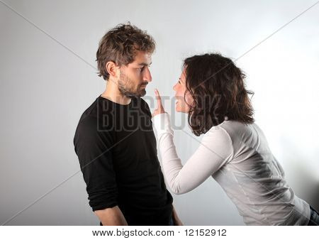 quarrel between young man and woman