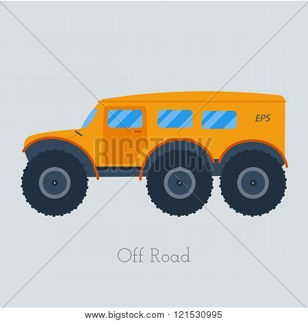 Cross country vechicle vector illustration . Isolated atv truck. Off Road Vehicle Outdoor