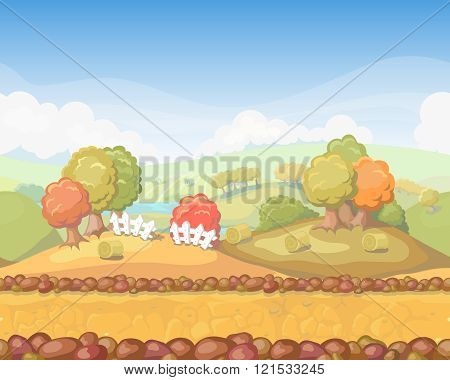 Cute cartoon seamless landscape with separated layers, autumn day illustration