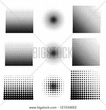 Vector illustration set of halftone.