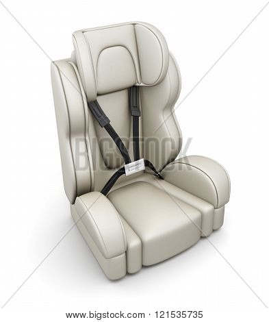 Baby car seat on white background. 3d render image