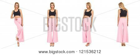 Beautiful model in summer trousers on white isolated background in different poses