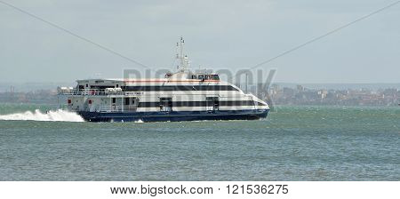 Ferry over the Tagus river Lisbon Portugal