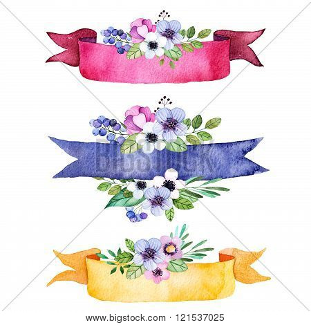 Colorful floral collection with multicolored flowers