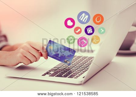 Online shopping. Female making online payment, close up